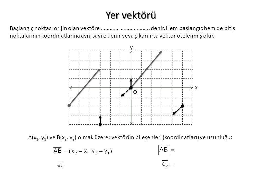 Yer vektörü Başlangıç noktası orijin olan vektöre ………… ……………….. denir. Hem başlangıç hem de bitiş noktalarının koordinatlarına aynı sayı eklenir veya