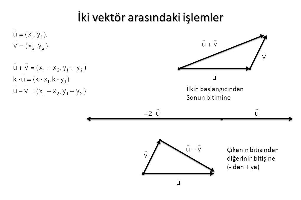 İki vektör arasındaki işlemler Çıkanın bitişinden diğerinin bitişine (- den + ya) İlkin başlangıcından Sonun bitimine