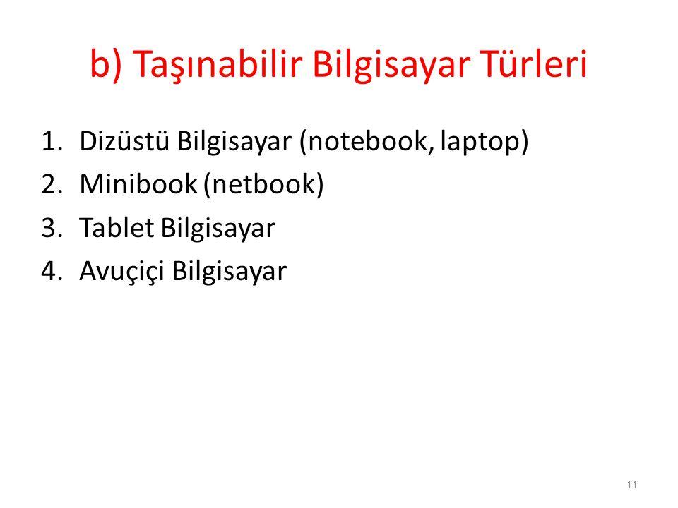 b) Taşınabilir Bilgisayar Türleri 1.Dizüstü Bilgisayar (notebook, laptop) 2.Minibook (netbook) 3.Tablet Bilgisayar 4.Avuçiçi Bilgisayar 11