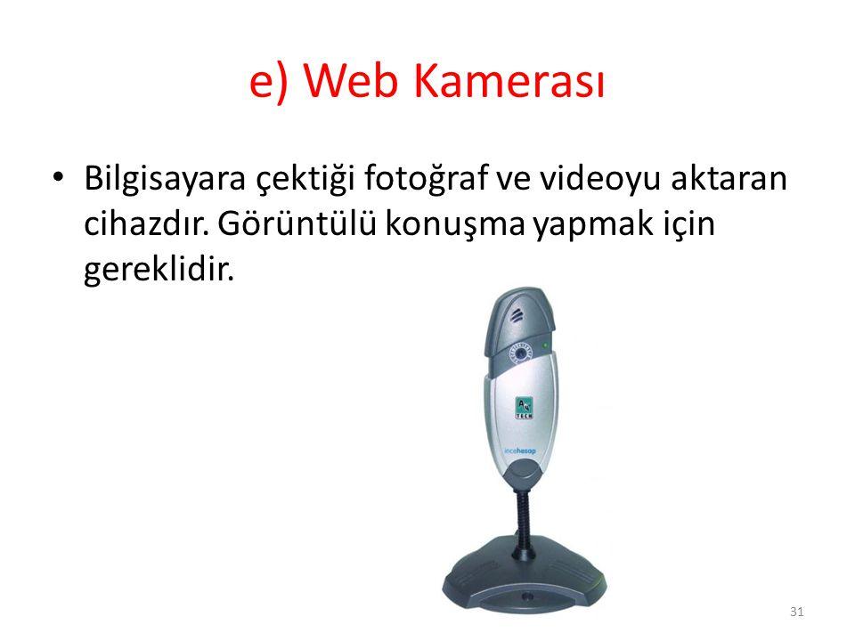 e) Web Kamerası Bilgisayara çektiği fotoğraf ve videoyu aktaran cihazdır. Görüntülü konuşma yapmak için gereklidir. 31