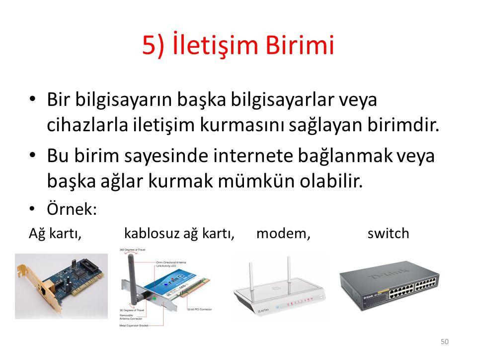 5) İletişim Birimi Bir bilgisayarın başka bilgisayarlar veya cihazlarla iletişim kurmasını sağlayan birimdir. Bu birim sayesinde internete bağlanmak v