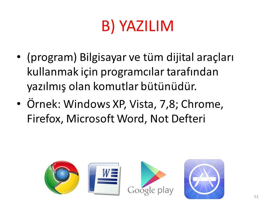 B) YAZILIM (program) Bilgisayar ve tüm dijital araçları kullanmak için programcılar tarafından yazılmış olan komutlar bütünüdür. Örnek: Windows XP, Vi