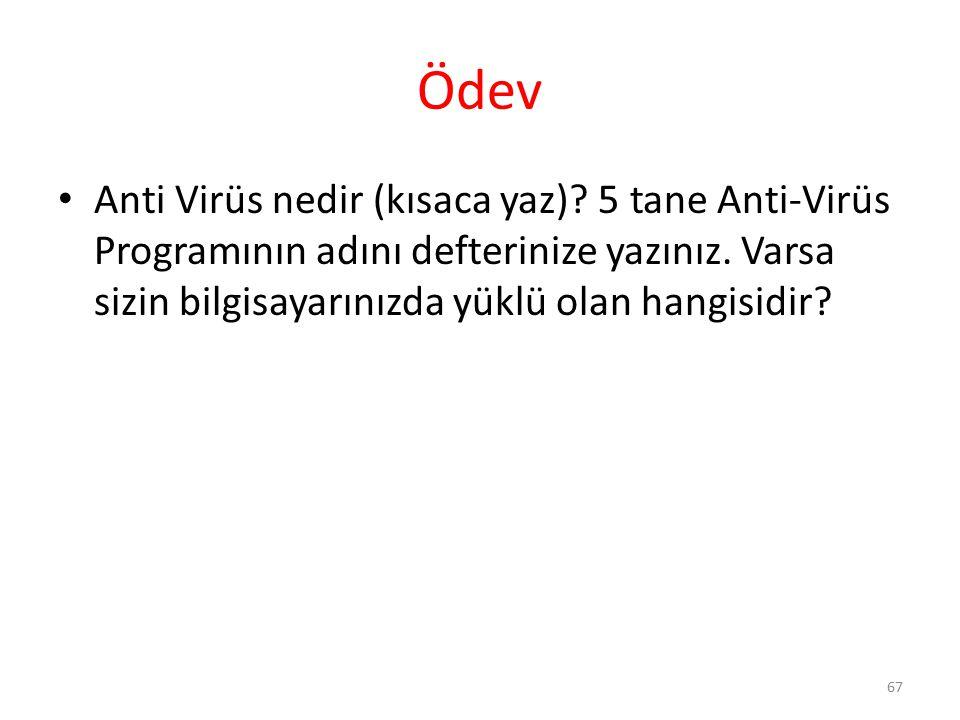 Ödev Anti Virüs nedir (kısaca yaz)? 5 tane Anti-Virüs Programının adını defterinize yazınız. Varsa sizin bilgisayarınızda yüklü olan hangisidir? 67
