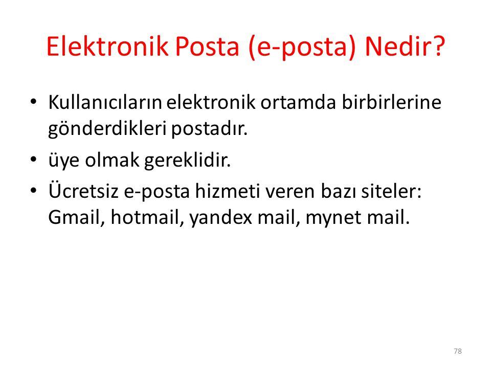 Elektronik Posta (e-posta) Nedir? Kullanıcıların elektronik ortamda birbirlerine gönderdikleri postadır. üye olmak gereklidir. Ücretsiz e-posta hizmet
