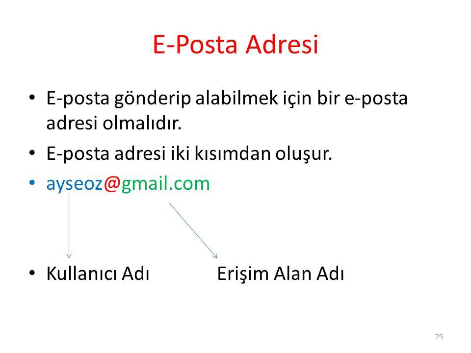 E-Posta Adresi E-posta gönderip alabilmek için bir e-posta adresi olmalıdır. E-posta adresi iki kısımdan oluşur. ayseoz@gmail.com Kullanıcı AdıErişim