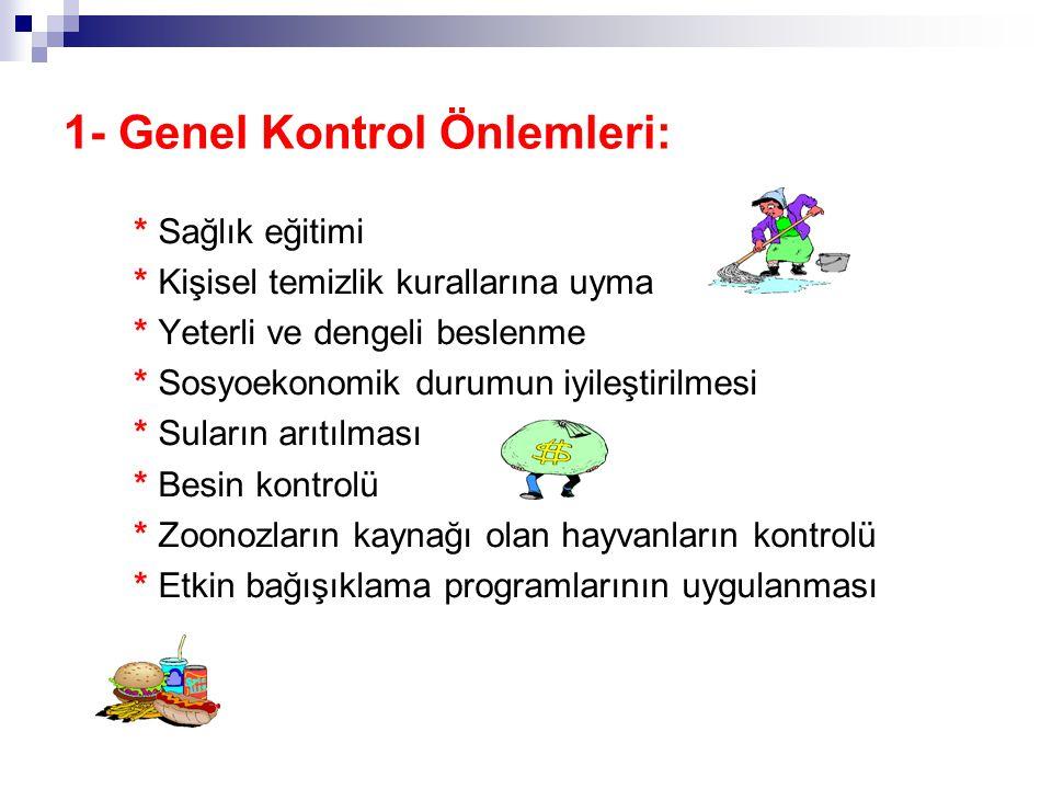 Bulaşıcı Hastalıkların Kontrolü 1- Genel Kontrol Önlemleri. 2- Özel (Spesifik) Kontrol Önlemleri: a. Hastalık kaynağına yönelik önlemler, b. Bulaşma y