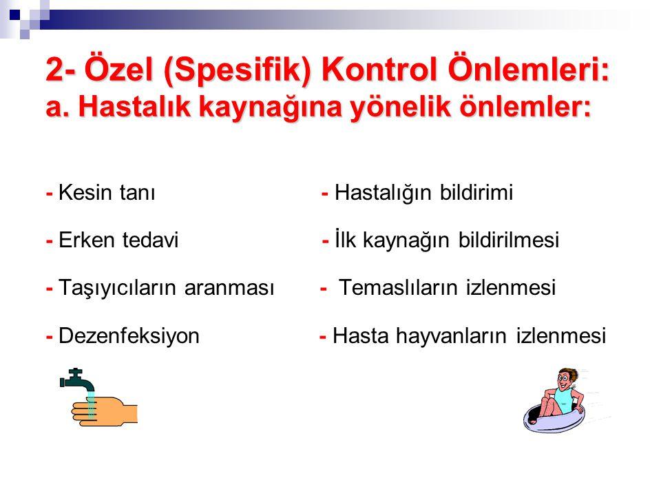 1- Genel Kontrol Önlemleri: * Sağlık eğitimi * Kişisel temizlik kurallarına uyma * Yeterli ve dengeli beslenme * Sosyoekonomik durumun iyileştirilmesi