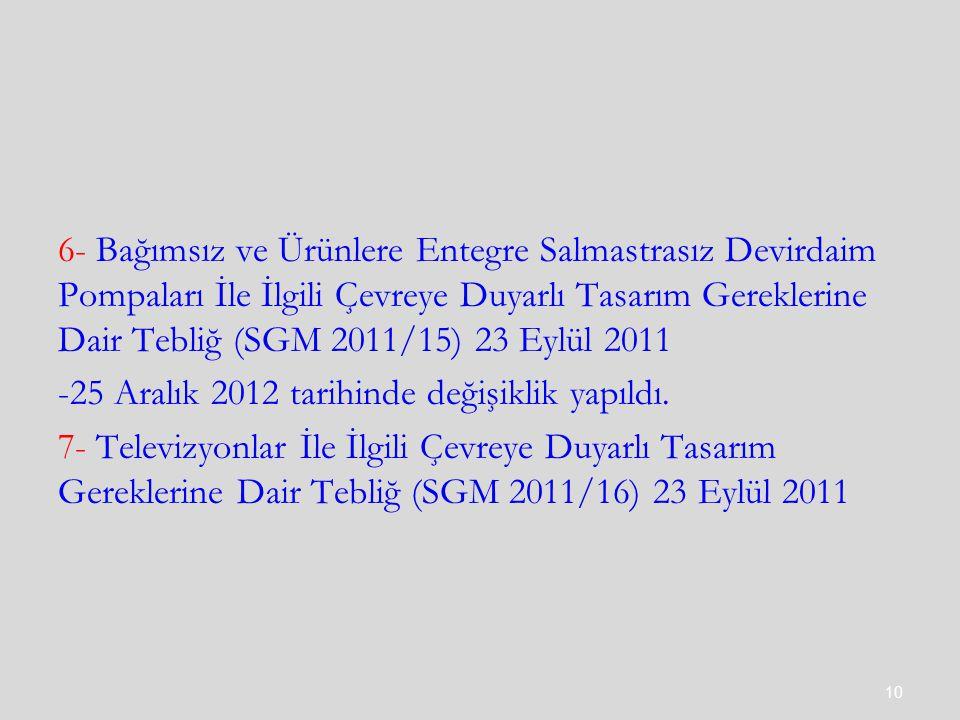 6- Bağımsız ve Ürünlere Entegre Salmastrasız Devirdaim Pompaları İle İlgili Çevreye Duyarlı Tasarım Gereklerine Dair Tebliğ (SGM 2011/15) 23 Eylül 2011 -25 Aralık 2012 tarihinde değişiklik yapıldı.