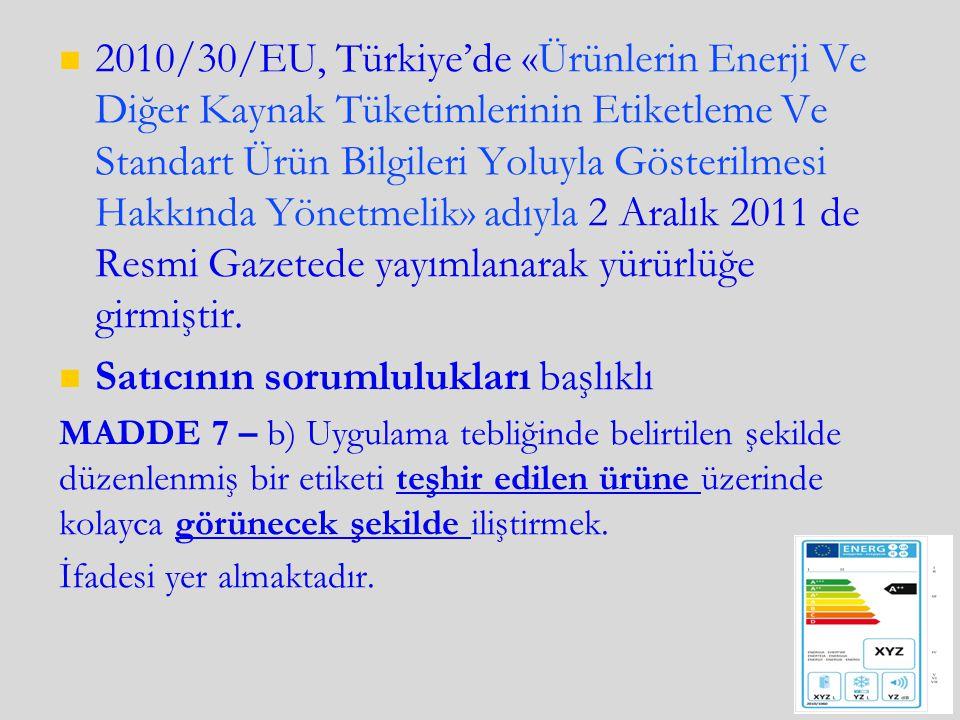 2010/30/EU, Türkiye'de «Ürünlerin Enerji Ve Diğer Kaynak Tüketimlerinin Etiketleme Ve Standart Ürün Bilgileri Yoluyla Gösterilmesi Hakkında Yönetmelik» adıyla 2 Aralık 2011 de Resmi Gazetede yayımlanarak yürürlüğe girmiştir.