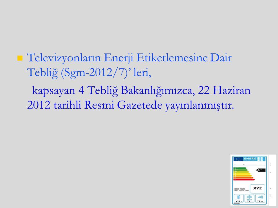 Televizyonların Enerji Etiketlemesine Dair Tebliğ (Sgm-2012/7)' leri, kapsayan 4 Tebliğ Bakanlığımızca, 22 Haziran 2012 tarihli Resmi Gazetede yayınlanmıştır.