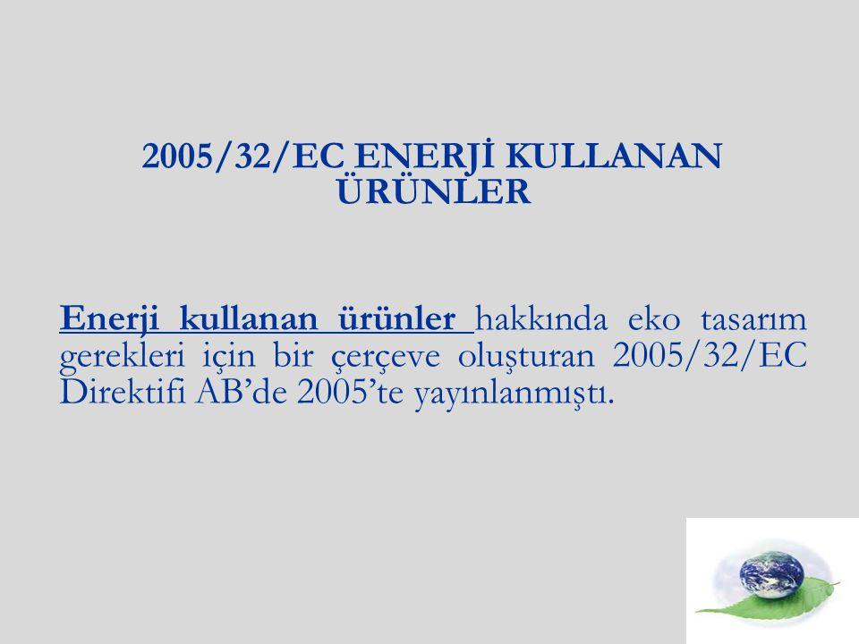 2005/32/EC ENERJİ KULLANAN ÜRÜNLER Enerji kullanan ürünler hakkında eko tasarım gerekleri için bir çerçeve oluşturan 2005/32/EC Direktifi AB'de 2005'te yayınlanmıştı.