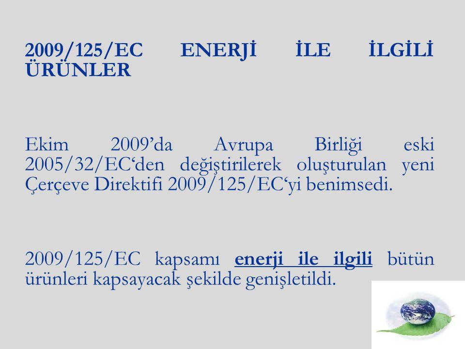 2009/125/EC ENERJİ İLE İLGİLİ ÜRÜNLER Ekim 2009'da Avrupa Birliği eski 2005/32/EC'den değiştirilerek oluşturulan yeni Çerçeve Direktifi 2009/125/EC'yi benimsedi.