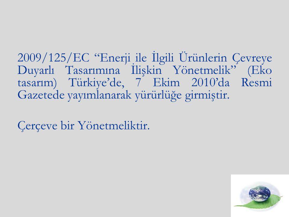 2009/125/EC Enerji ile İlgili Ürünlerin Çevreye Duyarlı Tasarımına İlişkin Yönetmelik (Eko tasarım) Türkiye'de, 7 Ekim 2010'da Resmi Gazetede yayımlanarak yürürlüğe girmiştir.
