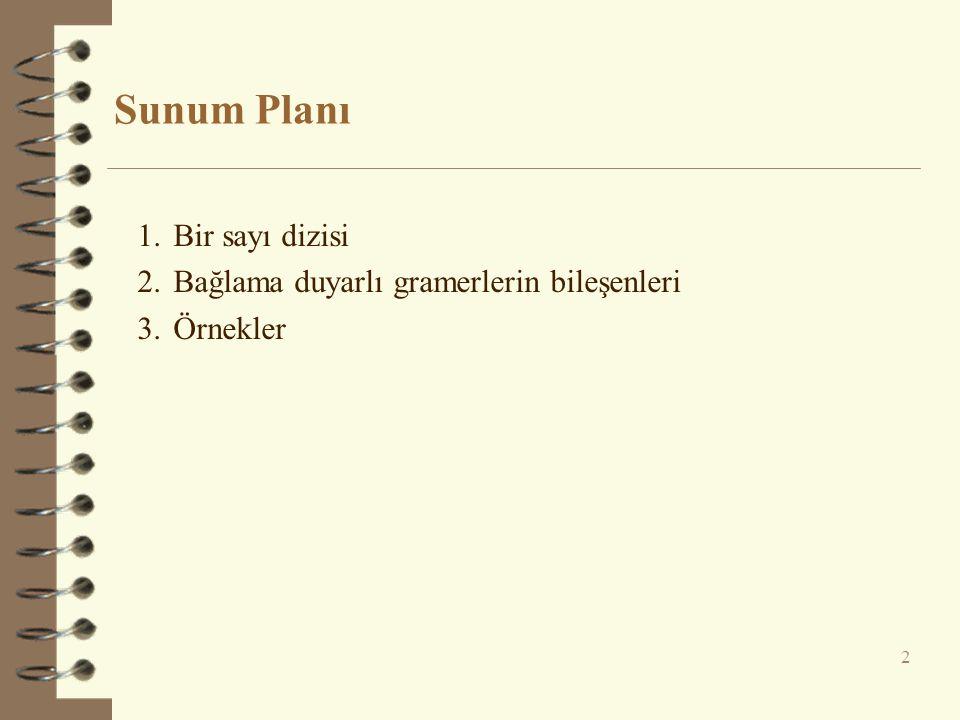 Sunum Planı 2 1.Bir sayı dizisi 2.Bağlama duyarlı gramerlerin bileşenleri 3.Örnekler