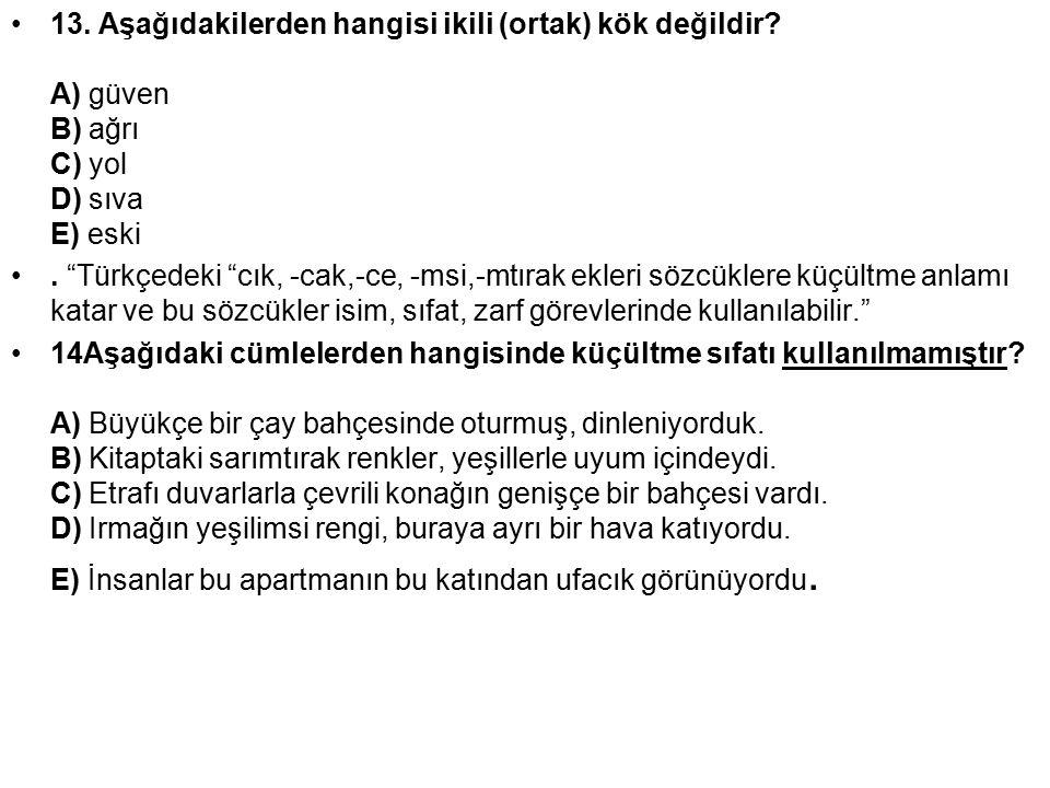 """13. Aşağıdakilerden hangisi ikili (ortak) kök değildir? A) güven B) ağrı C) yol D) sıva E) eski. """"Türkçedeki """"cık, -cak,-ce, -msi,-mtırak ekleri sözcü"""