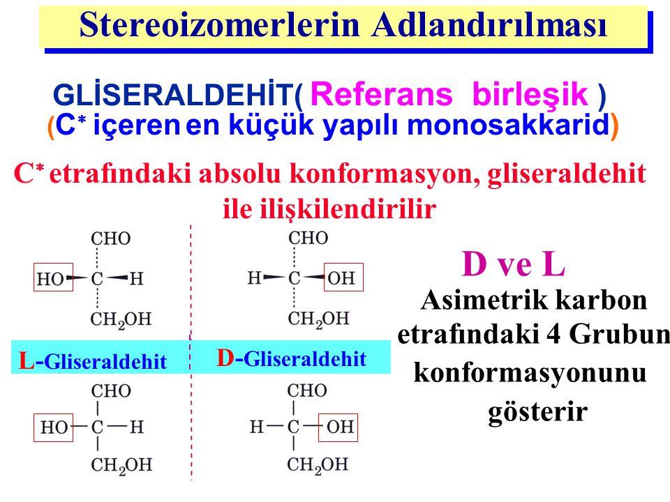 Stereoizomerlerin Adlandırılması : GLİSERALDEHİT( Referans birleşik ) ( C  içeren en küçük yapılı monosakkarid) D ve L Asimetrik karbon etrafındaki 4