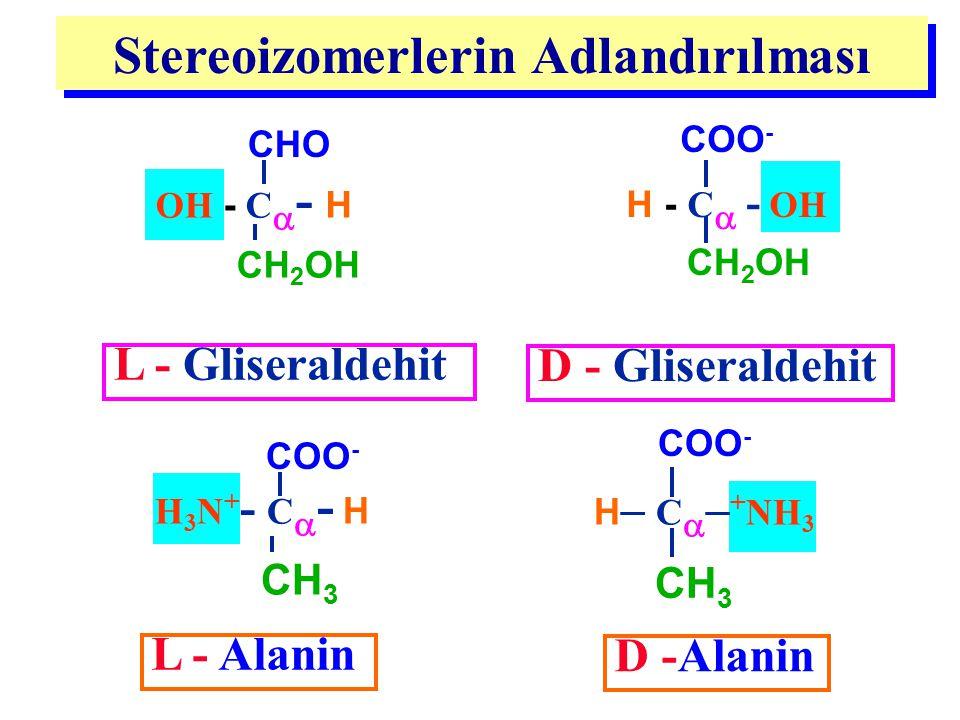 OH - C  - H CHO CH 2 OH L - Alanin D -Alanin H 3 N + - C  - H COO - CH 3 H – C  – + NH 3 COO - CH 3 L - Gliseraldehit H - C  - OH COO - CH 2 OH D