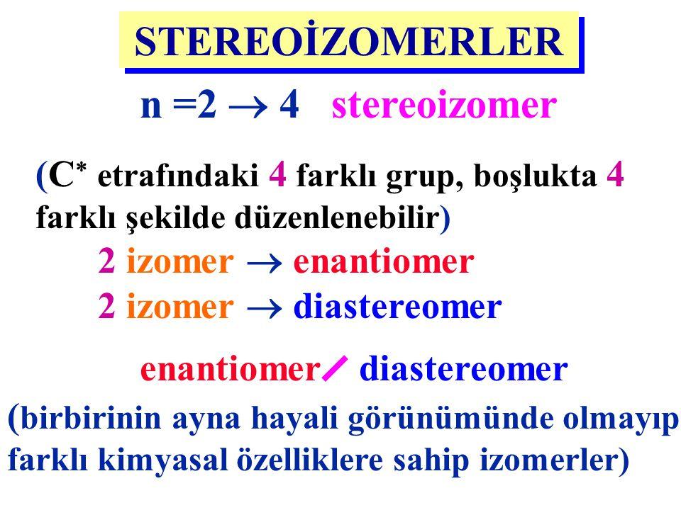 n =2  4 stereoizomer (C  etrafındaki 4 farklı grup, boşlukta 4 farklı şekilde düzenlenebilir) STEREOİZOMERLER 2 izomer  enantiomer 2 izomer  diast