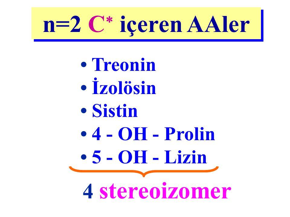 Treonin İzolösin Sistin 4 - OH - Prolin 5 - OH - Lizin n=2 C  içeren AAler 4 stereoizomer