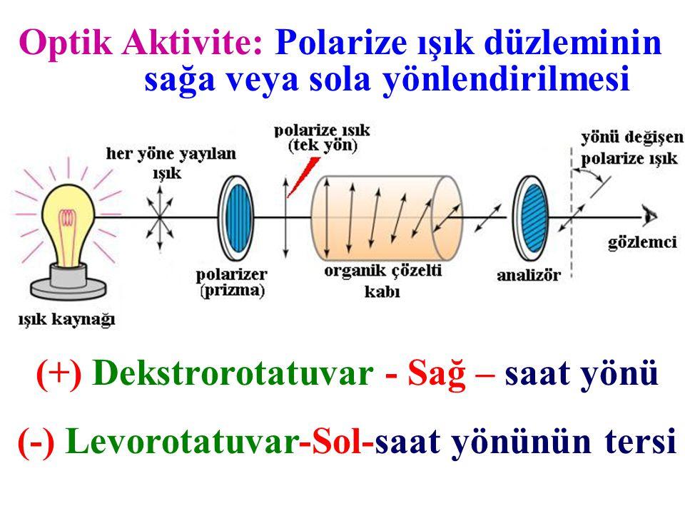 Optik Aktivite: Polarize ışık düzleminin sağa veya sola yönlendirilmesi (+) Dekstrorotatuvar - Sağ – saat yönü (-) Levorotatuvar-Sol-saat yönünün ters