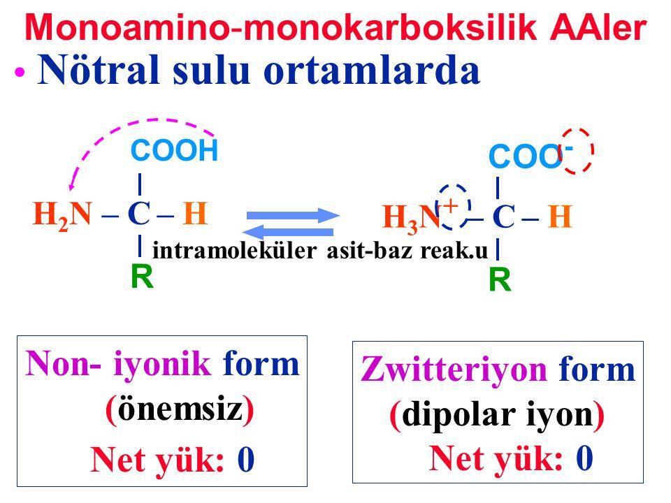 Nötral sulu ortamlarda COOH H 2 N – C – H R COO - H 3 N + – C – H R Zwitteriyon form (dipolar iyon) Net yük: 0 Non- iyonik form (önemsiz) Net yük: 0 M