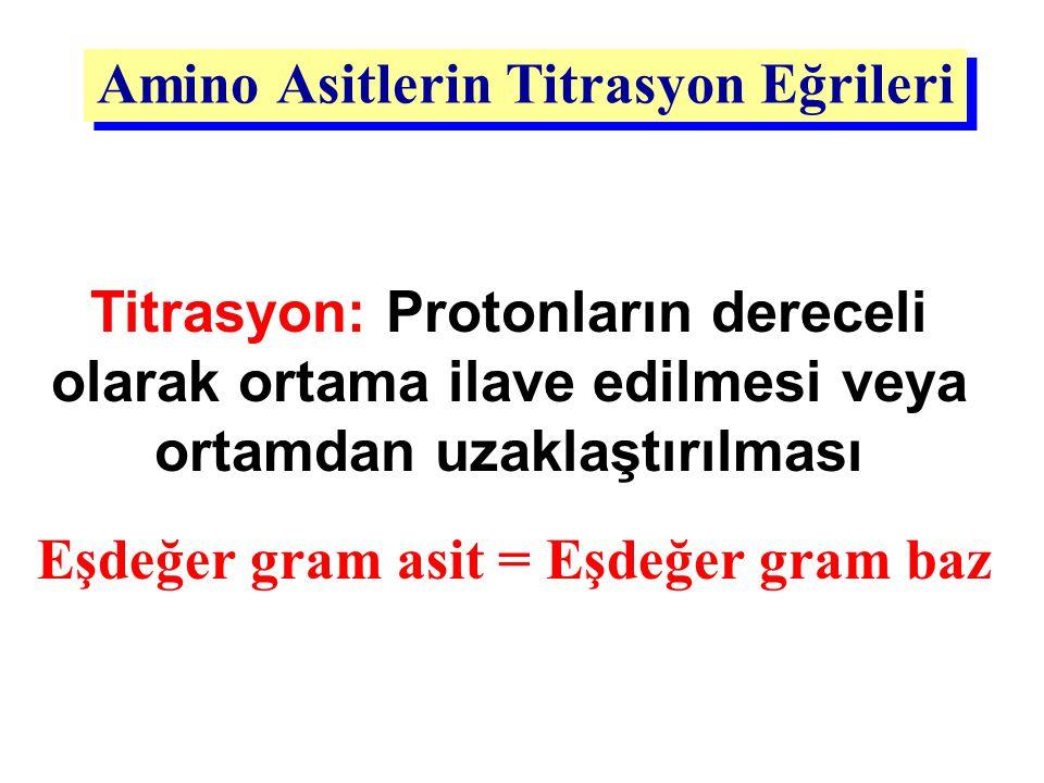 Amino Asitlerin Titrasyon Eğrileri Titrasyon: Protonların dereceli olarak ortama ilave edilmesi veya ortamdan uzaklaştırılması Eşdeğer gram asit = Eşd