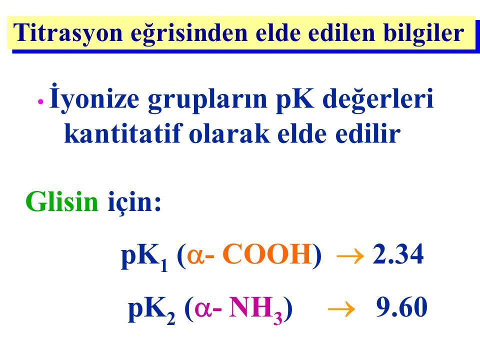 Titrasyon eğrisinden elde edilen bilgiler İyonize grupların pK değerleri kantitatif olarak elde edilir Glisin için: pK 1 (  - COOH)  2.34 pK 2 (  -