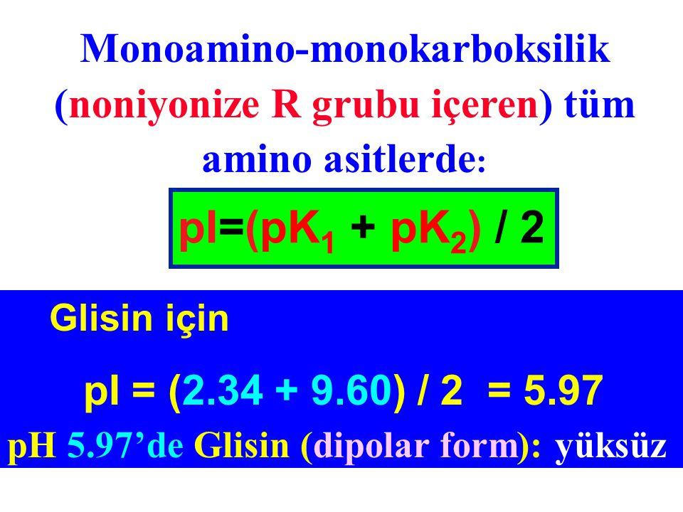 Monoamino-monokarboksilik (noniyonize R grubu içeren) tüm amino asitlerde : pI=(pK 1 + pK 2 ) / 2 Glisin için pI = (2.34 + 9.60) / 2 = 5.97 pH 5.97'de