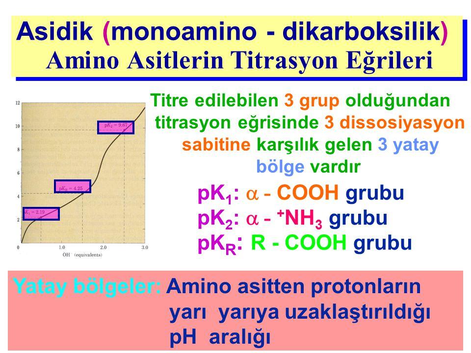 Asidik (monoamino - dikarboksilik) Amino Asitlerin Titrasyon Eğrileri Asidik (monoamino - dikarboksilik) Amino Asitlerin Titrasyon Eğrileri pK 1 :  -