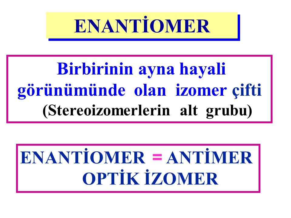 Birbirinin ayna hayali görünümünde olan izomer çifti (Stereoizomerlerin alt grubu) ENANTİOMER ENANTİOMER = ANTİMER OPTİK İZOMER