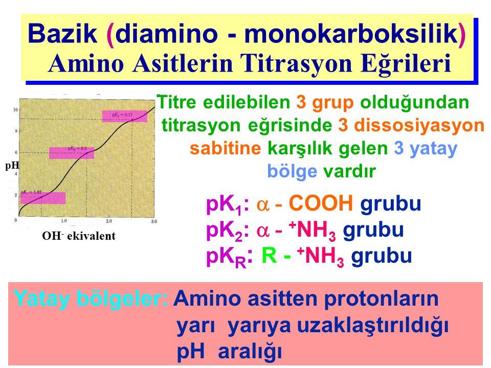 Bazik (diamino - monokarboksilik) Amino Asitlerin Titrasyon Eğrileri Bazik (diamino - monokarboksilik) Amino Asitlerin Titrasyon Eğrileri Yatay bölgel