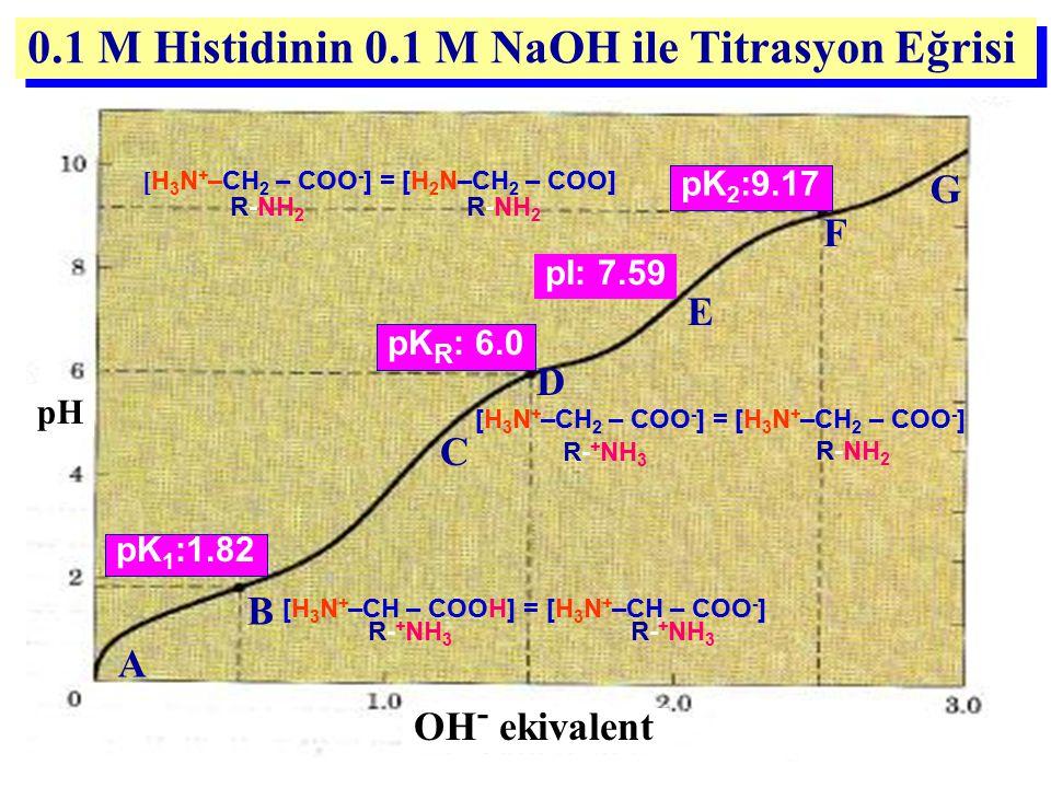 0.1 M Histidinin 0.1 M NaOH ile Titrasyon Eğrisi pH OH - ekivalent C pK 1 :1.82 pK 2 :9.17 pK R : 6.0 A D B pI: 7.59 G F E [H 3 N + –CH – COOH] = [H 3