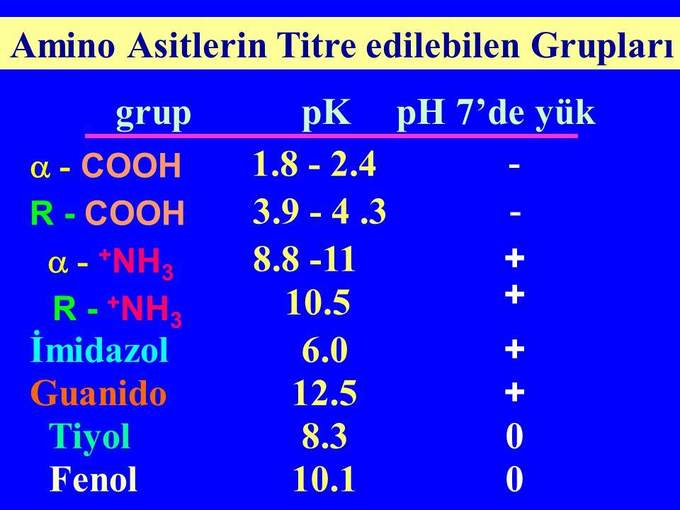 Amino Asitlerin Titre edilebilen Grupları grup pKpH 7'de yük  - COOH 1.8 - 2.4 - R - COOH 3.9 - 4.3 -  - + NH 3 8.8 -11 + R - + NH 3 10.5 + İmidazol