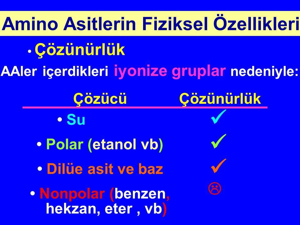 Amino Asitlerin Fiziksel Özellikleri Çözünürlük ÇözücüÇözünürlük Su Polar (etanol vb) Dilüe asit ve baz Nonpolar (benzen, hekzan, eter, vb)  AAler iç