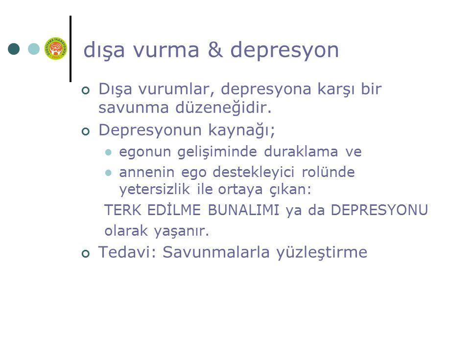 dışa vurma & depresyon Dışa vurumlar, depresyona karşı bir savunma düzeneğidir.