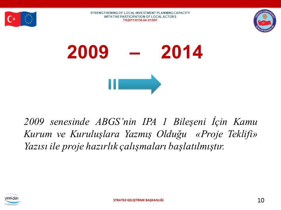 10 2009 – 2014 2009 senesinde ABGS'nin IPA 1 Bileşeni İçin Kamu Kurum ve Kuruluşlara Yazmış Olduğu «Proje Teklifi» Yazısı ile proje hazırlık çalışmala