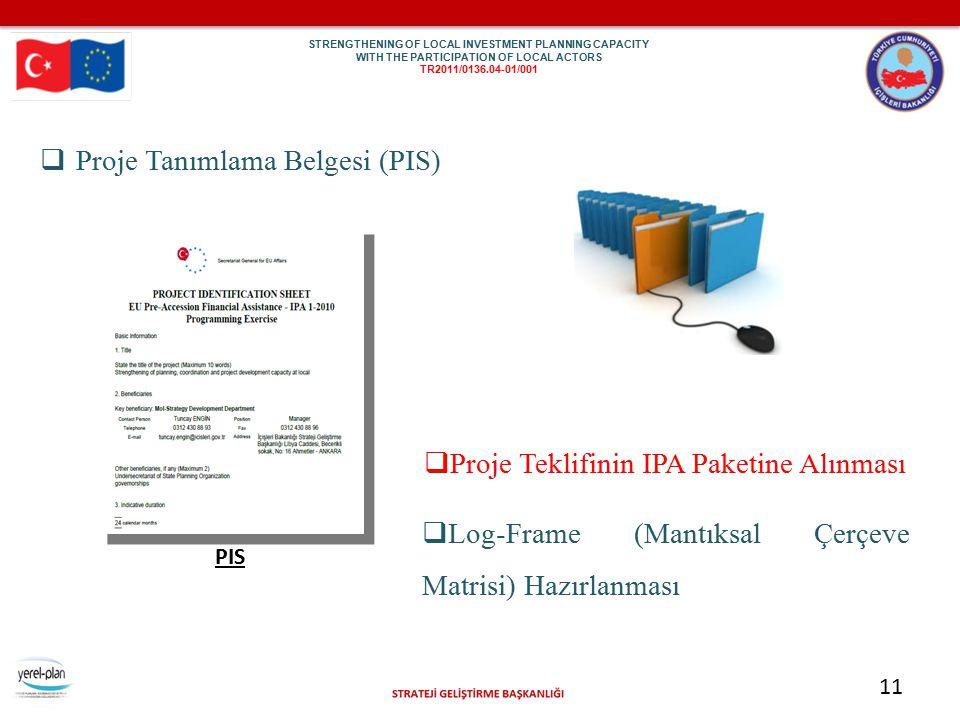 11  Proje Tanımlama Belgesi (PIS) PIS  Log-Frame (Mantıksal Çerçeve Matrisi) Hazırlanması  Proje Teklifinin IPA Paketine Alınması STR EN GTH ENI NG