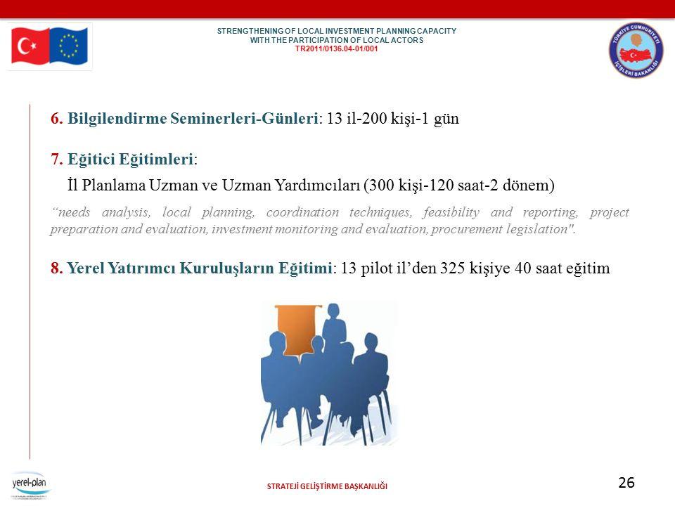 STRATEJİ GELİŞTİRME BAŞKANLIĞI 26 6. Bilgilendirme Seminerleri-Günleri: 13 il-200 kişi-1 gün 7. Eğitici Eğitimleri: İl Planlama Uzman ve Uzman Yardımc
