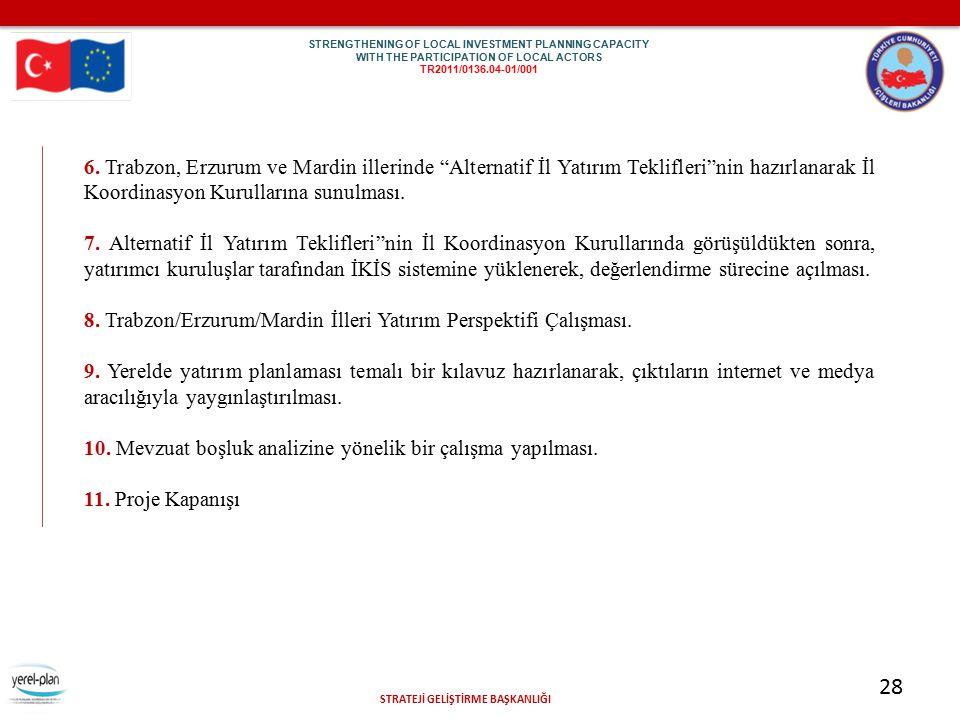 """STRATEJİ GELİŞTİRME BAŞKANLIĞI 28 6. Trabzon, Erzurum ve Mardin illerinde """"Alternatif İl Yatırım Teklifleri""""nin hazırlanarak İl Koordinasyon Kurulları"""