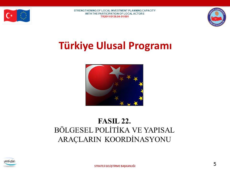 STRATEJİ GELİŞTİRME BAŞKANLIĞI 5 Türkiye Ulusal Programı FASIL 22. BÖLGESEL POLİTİKA VE YAPISAL ARAÇLARIN KOORDİNASYONU STR EN GTH ENI NG OF LOC AL IN
