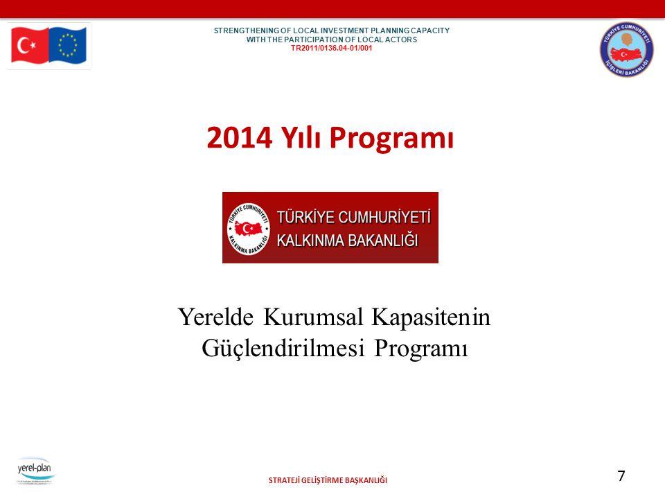STRATEJİ GELİŞTİRME BAŞKANLIĞI 7 2014 Yılı Programı Yerelde Kurumsal Kapasitenin Güçlendirilmesi Programı STR EN GTH ENI NG OF LOC AL INV EST ME NT PL