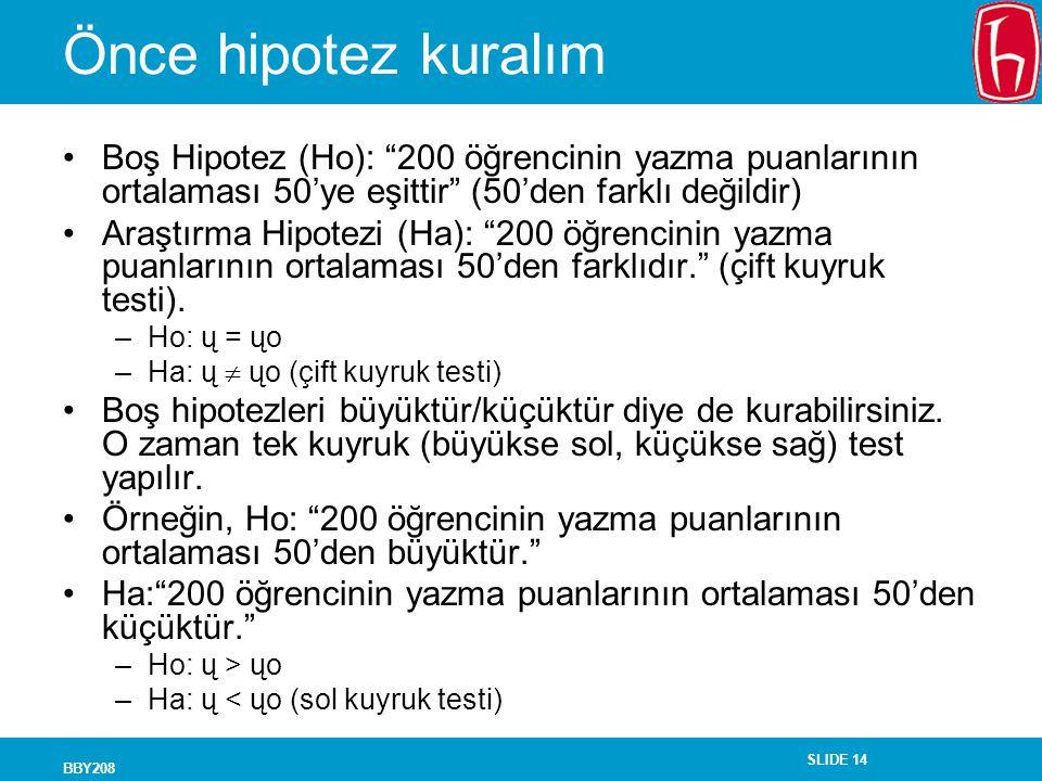 SLIDE 14 BBY208 Önce hipotez kuralım Boş Hipotez (Ho): 200 öğrencinin yazma puanlarının ortalaması 50'ye eşittir (50'den farklı değildir) Araştırma Hipotezi (Ha): 200 öğrencinin yazma puanlarının ortalaması 50'den farklıdır. (çift kuyruk testi).