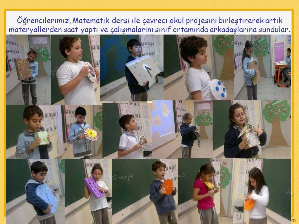 Öğrencilerimiz, Matematik dersi ile çevreci okul projesini birleştirerek artık materyallerden saat yaptı ve çalışmalarını sınıf ortamında arkadaşların