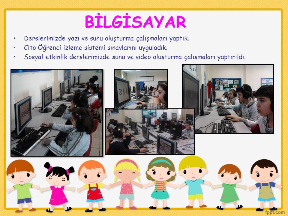 Derslerimizde yazı ve sunu oluşturma çalışmaları yaptık. Cito Öğrenci izleme sistemi sınavlarını uyguladık. Sosyal etkinlik derslerimizde sunu ve vide