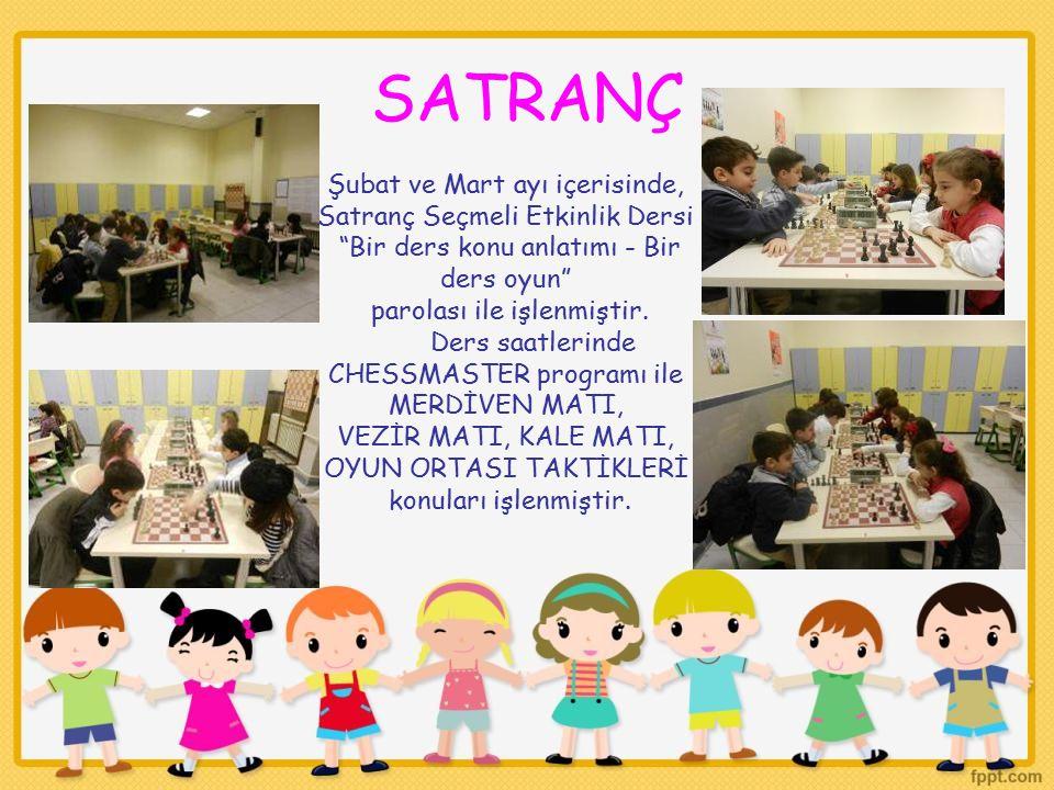 """SATRANÇ Şubat ve Mart ayı içerisinde, Satranç Seçmeli Etkinlik Dersi """"Bir ders konu anlatımı - Bir ders oyun"""" parolası ile işlenmiştir. Ders saatlerin"""