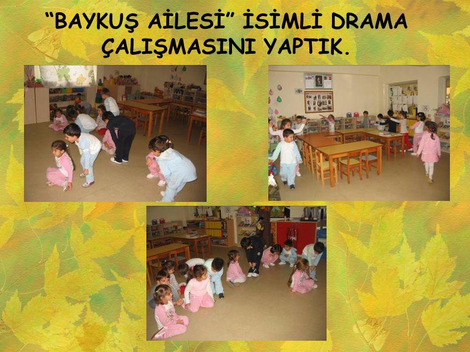"""""""BAYKUŞ AİLESİ"""" İSİMLİ DRAMA ÇALIŞMASINI YAPTIK."""