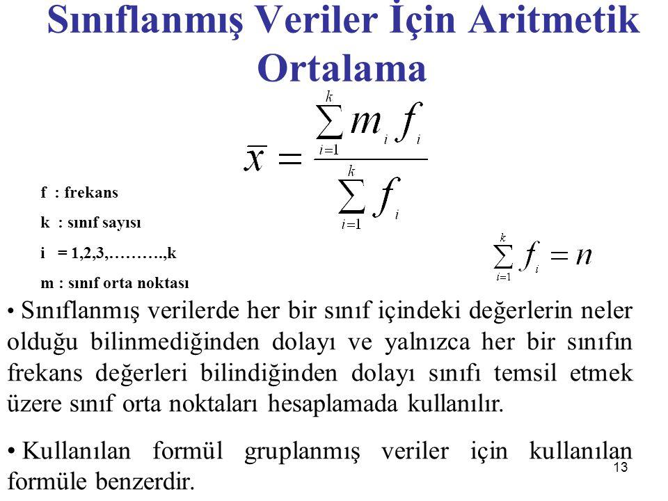 13 Sınıflanmış Veriler İçin Aritmetik Ortalama f : frekans k : sınıf sayısı i = 1,2,3,……….,k m : sınıf orta noktası Sınıflanmış verilerde her bir sınıf içindeki değerlerin neler olduğu bilinmediğinden dolayı ve yalnızca her bir sınıfın frekans değerleri bilindiğinden dolayı sınıfı temsil etmek üzere sınıf orta noktaları hesaplamada kullanılır.