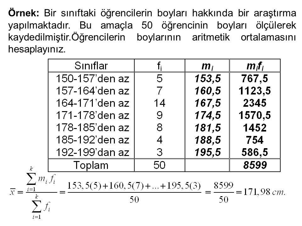 Örnek : Bir sınıftaki öğrencilerin boyları hakkında bir araştırma yapılmaktadır. Bu amaçla 50 öğrencinin boyları ölçülerek kaydedilmiştir.Öğrencilerin