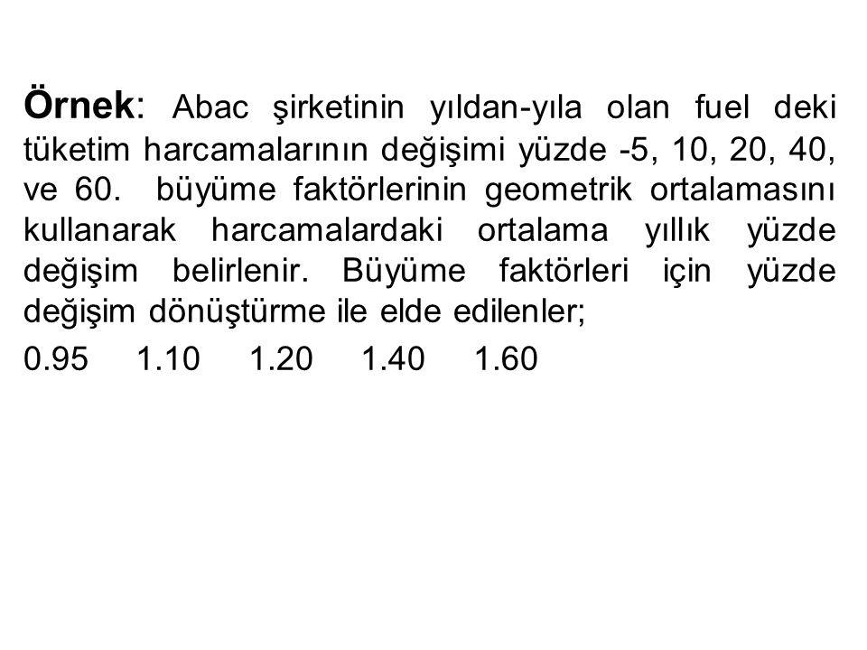 Örnek: Abac şirketinin yıldan-yıla olan fuel deki tüketim harcamalarının değişimi yüzde -5, 10, 20, 40, ve 60. büyüme faktörlerinin geometrik ortalama