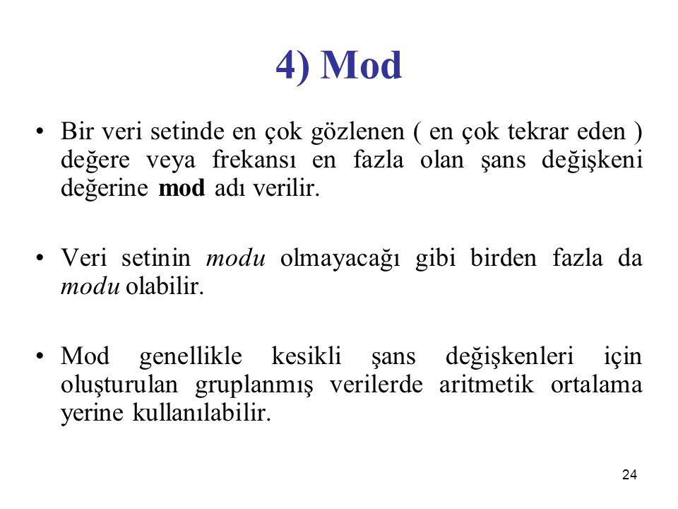 24 4) Mod Bir veri setinde en çok gözlenen ( en çok tekrar eden ) değere veya frekansı en fazla olan şans değişkeni değerine mod adı verilir. Veri set